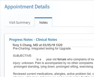 Screenshot from MyChart - Accessing Clinical Notes
