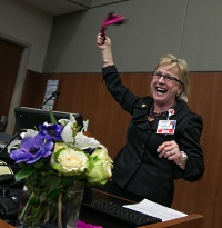 Ssenior vice president, patient care services and chief nursing officer Beth Houlahan celebrates Magnet re-designation.