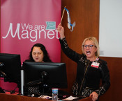 Beth Houlahan, DNP, RN, CENP, UW Health Senior Vice President and Chief Nurse Executive, celebrates UW Health's second Magnet re-designation.