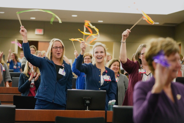Crowd reaction after UW Health was re-designated as a Magnet organization