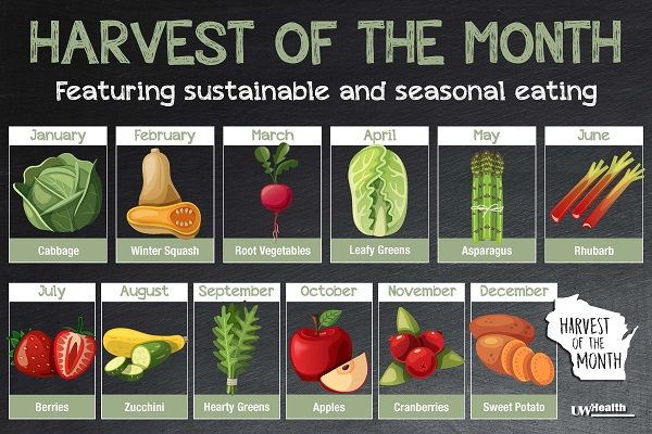 UW Health Culinary Services features Harvest of the Month, which helps you enjoy local, sustainably grown produce throughout the year.