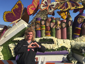 April Thums in front of the Donate Life float at the Rose Parade on Jan. 1, 2015 in Pasadena, Calif.