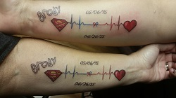 Tattoos to honor Brody's gift of life.