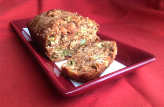 Rhubarb Bread with Cinnamon Sugar Topping