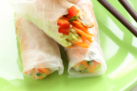 Fresh Vegetable Spring Rolls with Peanut Dipping Sauce