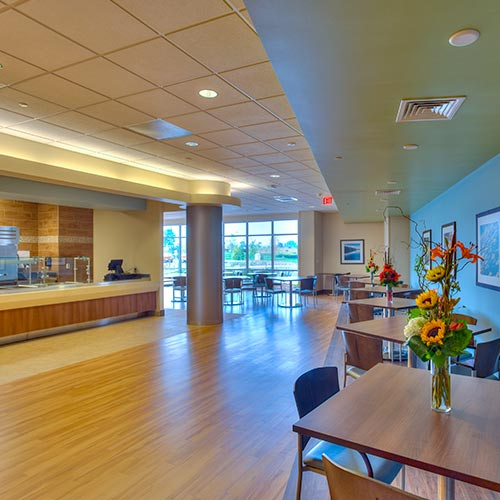Our space also helps our patients enjoy meals with each other in our dining room, in a setting more like one's home setting.