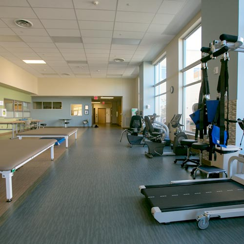 Our bright, spacious therapy gym creates an environment customized to the individual needs of our patients.