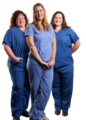 ICU nurse Danielle with UW Organ and Tissue Donation team members Veronica Lawrence, RN, and Lynn Berg, CST