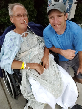 Living liver donor Brian Forrest, right, with his transplant recipient and first cousin, Richard Gillette.